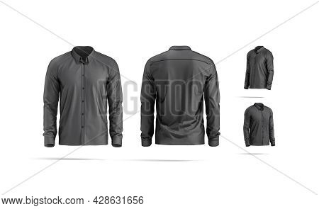 Blank Black Classic Shirt Mock Up, Different Views, 3d Rendering. Empty Casual Male Garment With Col