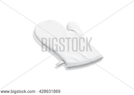 Blank White Oven Mitt Mockup Back, Side View, 3d Rendering. Empty Protection Quilted Glove For Cooki