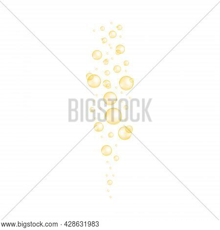 Golden Bubbles Stream. Fizzy Carbonated Drink, Soda, Champagne, Seltzer Texture. Glossy Balls Of Col