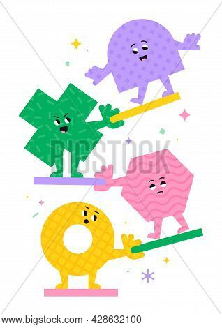 Cute Cartoon Geometric Figures With Different Face Emotions, Cross, Ring And Hexagon, Funny Poster I