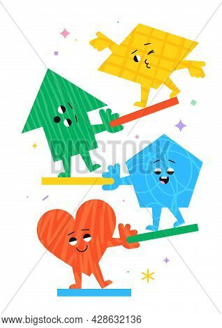 Cute Cartoon Geometric Figures With Different Face Emotions, Heart, Arrow, Pentagon And Parallelogra