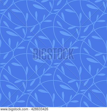Seamless Royal Blue Abstract Geometric Pattern With White Lines On A Blue Background