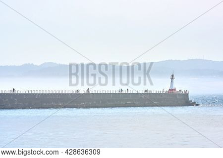 Ogden Point Breakwater Victoria. A Misty Day As People Visit The Ogden Point Breakwater And Lighthou