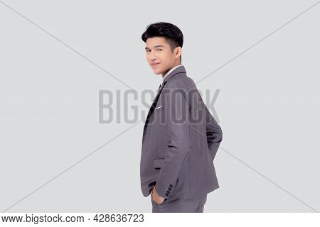 Portrait Young Asian Businessman In Suit With Confident And Friendly Isolated On White Background, B