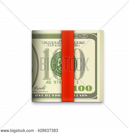 Cash Money Roll Icon, Usa Dollars Paper Banknotes In Wallet Clip, Vector. Dollars Roll In Red Ribbon
