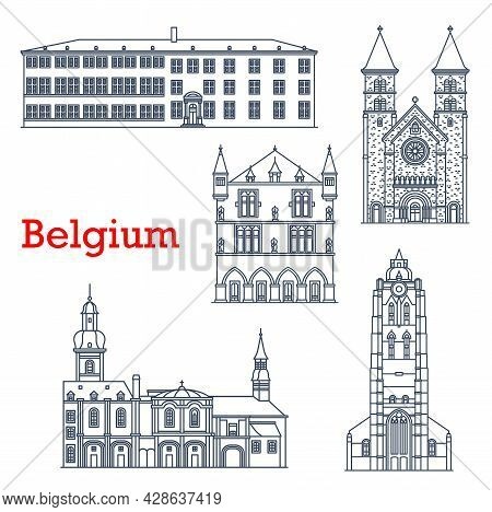 Luxembourg Landmarks, Architecture Buildings, Vector Luxemburg Travel Sightseeing. Grand Duchy Of Lu