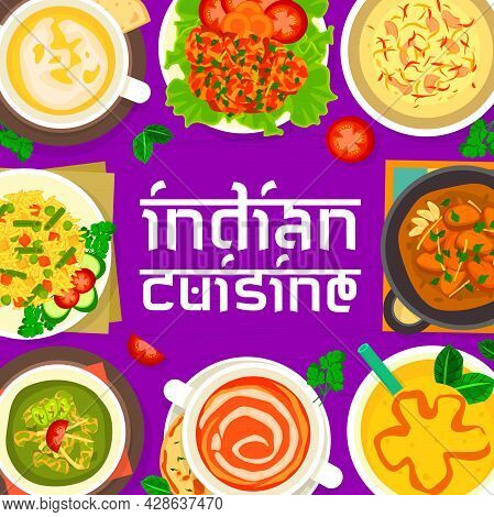 Indian Cuisine Menu Cover. Tomato And Pea Cream Soup, Mango Yogurt Lassi, Chicken With Spinach Palak