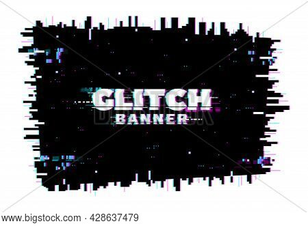 Digital Color Distortion Glitch Screen, Lines And Pixel Noise Background. Vector Glitched Banner, Te