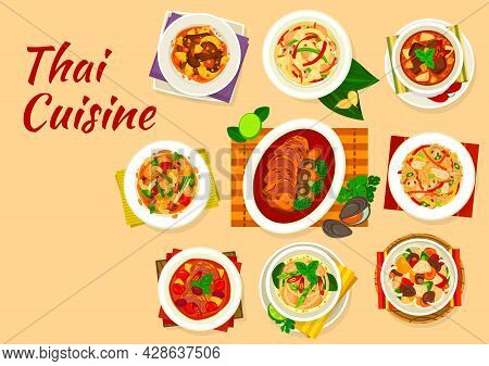 Thai Cuisine Dishes Of Vector Meat And Vegetable Food, Rice, Noodles, Red And Green Curries. Cashew