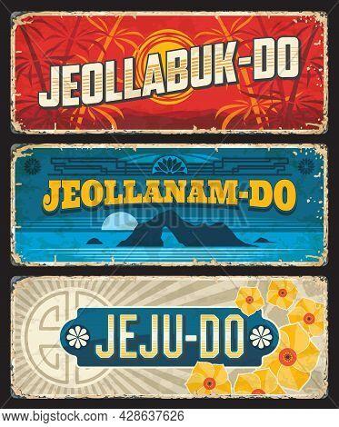 Jeollabuk-do, Jeollanam-do And Jeju Korean Provinces Tin Signs. South Korea Regions Vintage Plates,
