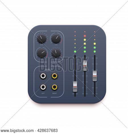 Sound Mixer, Music Sound Record App Icon, Vector Dj Audio Control Buttons. Sound Mixer Application I