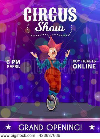 Shapito Circus Poster, Cartoon Clown On Unicycle, Vector Funfair Carnival Show. Circus Clown Or Harl