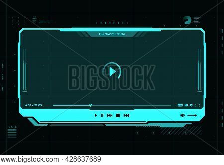 Hud Video And Sound Player Futuristic Screen Interface, Vector Multimedia Play. Hud Video Or Music W