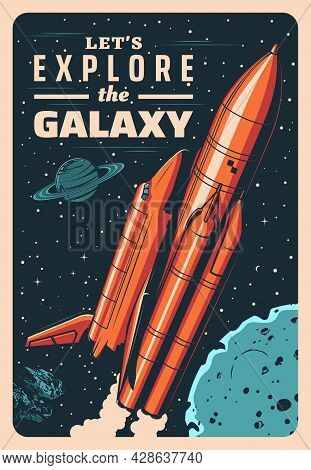 Space Rocket And Shuttle In Galaxy Vector Vintage Poster. Mother Missile Booster With Shuttle On Boa