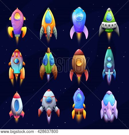 Cartoon Spacecraft, Rockets And Spaceships. Vector Space Ships, Fantasy Vehicles With Jet Engine, Po