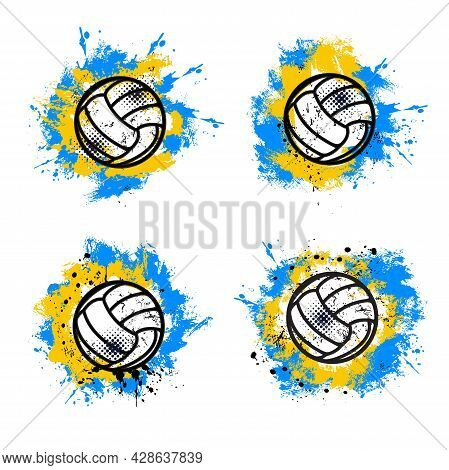Volleyball Sport Grunge Banner Or Background With Game Ball, Blue And Yellow Paint Splatters, Drops