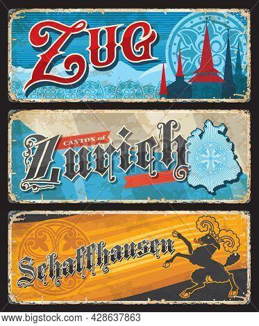 Zug, Zurich And Schaffhausen Swiss Cantons Vintage Plates. Switzerland Grunge Vector Tin Plates With