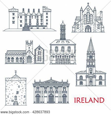 Ireland Architecture Landmarks And Buildings, Travel Sightseeing Vector Icons. Munster Saint Trinity