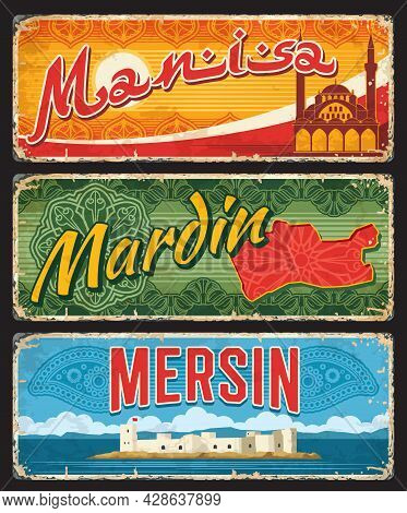 Mersin, Mardin And Manis Turkey Province Signs, Vector Plates. Turkish Il Provinces Luggage Tags Or