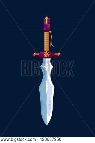 Magical Cartoon Dagger Steel Blade, Medieval Sword Or Knight Knife, Vector Icon. Fairy Tale Magic Sw