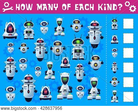 Robots And Droids Kids I Spy Game. Children Riddle, Counting Puzzle Or Quiz Book Page Template With