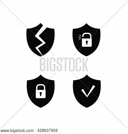 The Security System On The Internet. A Shield With A Crack. A Shield With A Check Mark Icon. The Shi