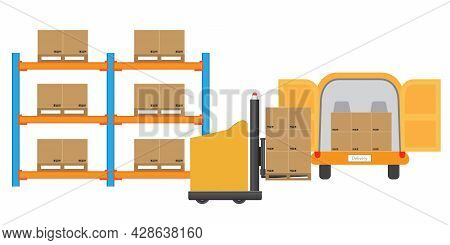 Agv Automated Guided Vehicles Forklift Loading Goods To Delivery Truck. Vector And Illustration Desi