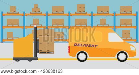 Interior Of Modern Logistic Warehouse. Agv Automated Guided Vehicles Forklift Loading Goods To Deliv