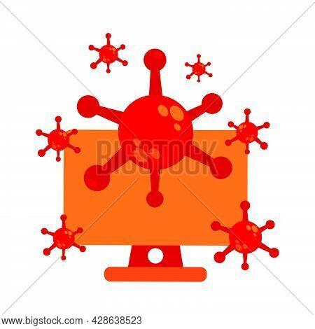 Virus With Computer Illustration Design. Pandemic Virus Illustration. Virus Illustration Design. On