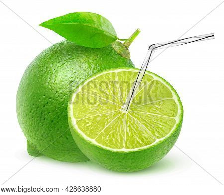 Isolated Lime Juice. One And A Half Lime Fruit With Straw In It, Natural Fresh Juice Concept Isolate