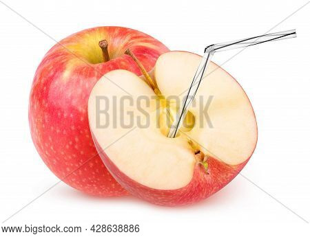 Isolated Apple Juice. One And A Half Red Apple With Straw In It Isolated On White Background With Cl