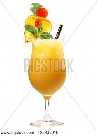 Mai Tai Cocktail On White Background High Quality Image