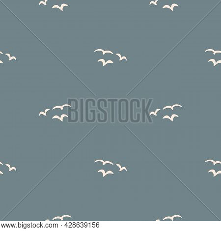Seamless Background Birds In Sky Gender Neutral Pattern. Whimsical Minimal Earthy 2 Tone Color. Kids