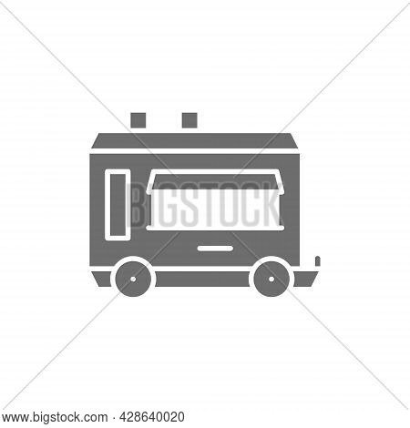 Vector Mobile Kitchen Food Trailer Gray Icon.