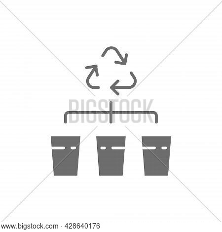 Separate Garbage Collection, Waste Sorting Gray Icon.