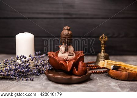 Abstract Picture Of A Modern Interior In Oriental Style, Selective Focus On Smoking Incense Sticks A