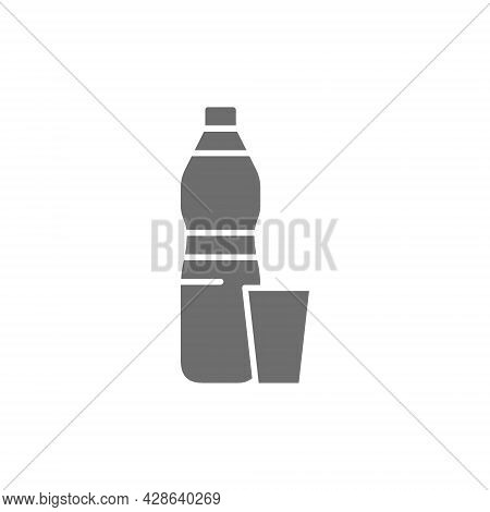 Plastic Trash, Waste Gray Icon. Isolated On White Background