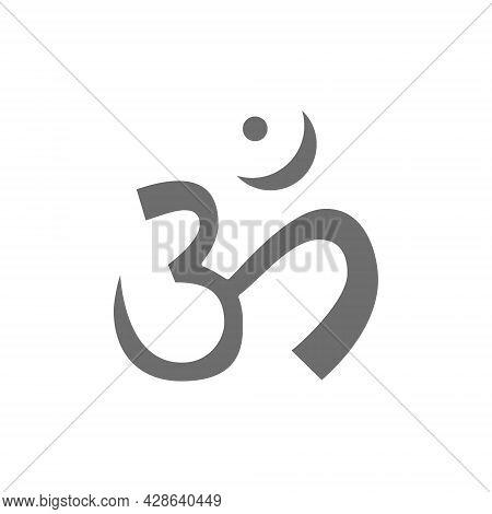 Om Or Aum Indian Sacred Sound Symbol, Mantra Grey Icon.