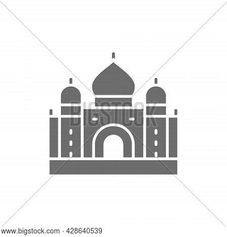 Taj Mahal, Landmark Of Agra, India Grey Icon.