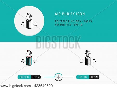 Air Purify Icons Set Editable Stroke Vector Illustration. Clean Air Filtering Symbol. Icon Line Styl