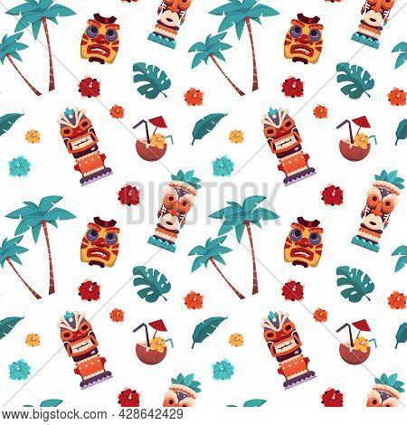Tiki Pattern. Hawaiian And Polynesian Tropical Masks. Summer Vacation Seamless Background. Tribal To
