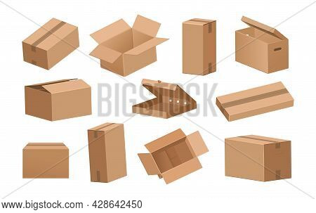Cardboard Box. Cartoon 3d Delivery Packages And Parcels For Shipping Or Transportation. Brown Opened