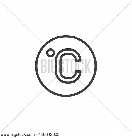 Celsius Degree Line Icon. Linear Style Sign For Mobile Concept And Web Design. Celsius Temperature O
