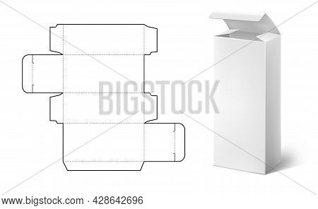 Box Die Cut. Realistic Carton Package Blueprint Layout. Tall Rectangular Food And Medical Pack. Isol