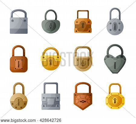 Cartoon Lock. Golden And Silver Metal Vintage Or Modern Padlock. Data Encryption And Safety Concept.