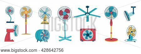 Air Cooling Fan. Electric Home And Office Conditioning Devices. Cartoon Domestic Climate System. Flo