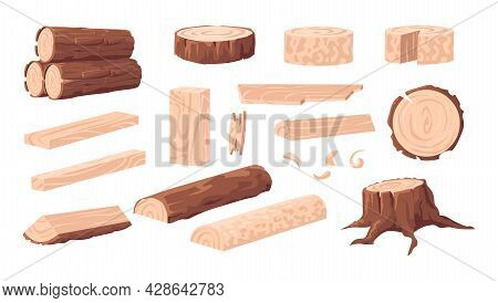 Cartoon Lumber. Wood Materials. Forest Tree Trunk And Log. Branches With Bark. Wooden Plank And Stum
