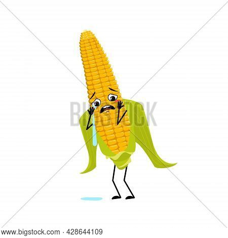 Cute Corn Cob Character With Crying And Tears Emotion, Sad Face, Depressive Eyes, Arms And Legs. Fun