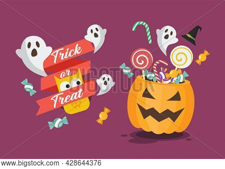 Trick Or Treat Poster With Halloween Pumpkin Basket. Flat Style Vector Illustration.