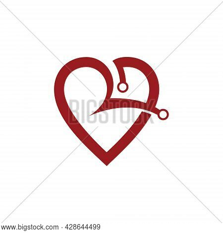 Heart Shape Initial R Letter Abstract Logo Vector Template. R Icon